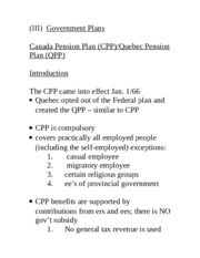 Acturarial Science 1021 Canada Pension Plan Notes