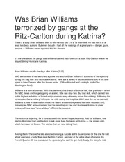 Was Brian Williams terrorized by gangs at the Ritz