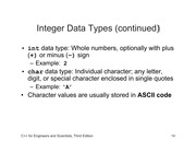 Csc 102 Lecture on Introduction to C++ (Part 3)