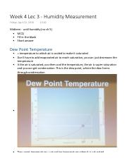 Week 4 Lec 3 - Humidity Measurement