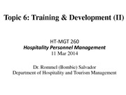 260-Topic 6 Training and Development Spring 2014 Part 2
