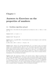 Answers to 1R Algebra Exercises on Properties of Numbers (Solutions)