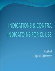 INDICATIONS & CONTRA INDICATOINS FOR CL USE