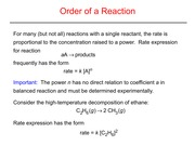 Order of a Reaction Slides and Notes