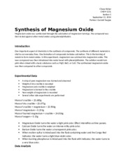 Chemistry Lab 4 - Synthesis of Magnesium Oxide