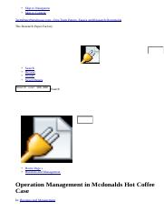 Operation Management in Mcdonalds Hot Coffee Case - Essays - Honganh4387.html