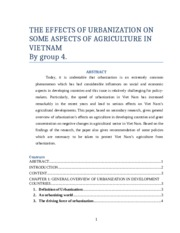 The effect of urbanization on agriculture in VN