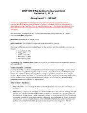 MGF1010 Essay Topic  Instructions Sem 1 2013