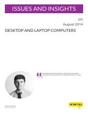 Desktop and Laptop Computers - UK - August 2014 - Issues and Insights