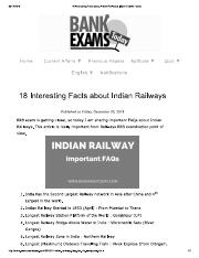 18 Interesting Facts about Indian Railways _ Bank Exams Today