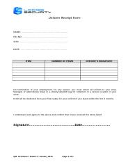 QM 123 Uniform Receipt Form Issue 7 Dated 1st January 2015