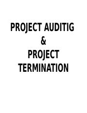 PROJECT AUDIT&TERMINATION
