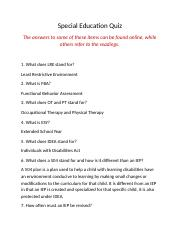 special education online quiz answers