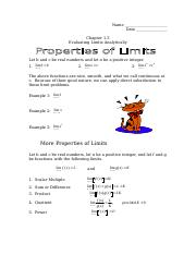 1.3 Properties of limits