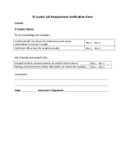 SI Leader Job Requirement Verification Form- class not attended (1)