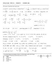 Phy 121 - Sample Final