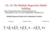 Chapter 14, Multiple Regression