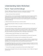 4 09 En 4 Understanding Satire Worksheet Part A Twain And