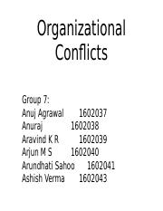 Group 7- Organizational Conflicts