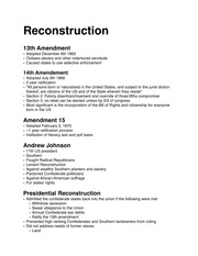 AMERICAN RECONSTRUCTION NOTES