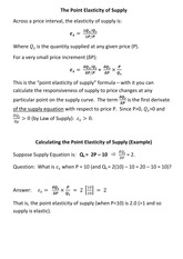 Lecture 12 - The Point Elasticity of Supply