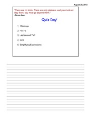 Quiz 1 Day Like Terms Notes