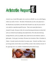 Aristotle report