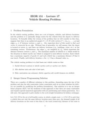 Vehicle Routing Problem Notes