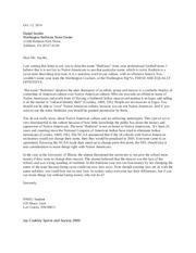 Letter to Washington Redskins, Assignment