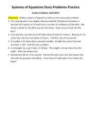 Systems of Equations Story Problems Practice