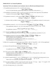 PROBLEM SET on Chemical Equilibrium