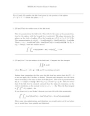 Math 241 Review Questions Exam 4 Solutions