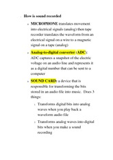 CS 1033A Class Notes How is sound recorded