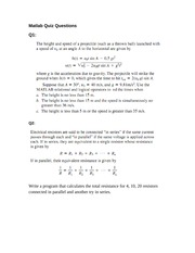 Matlab Quiz Questions