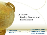 Quality Control and Improvement-Chapter9