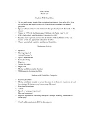 Students with Disabilities Notes