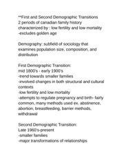Geo 2143B Lecture Notes First and Second Demographic Transitions