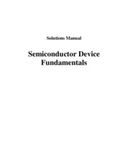 Semiconductor Device Fundamentals Solutions
