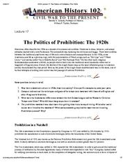 H102 Lecture 17_ The Politics of Prohibition_ The 1920s