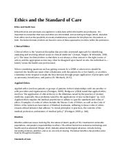 Ethics and the Standard of Care