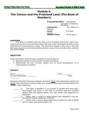 Module 6 The Census and the Promised Land (The Book of Numbers) k.doc