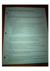 Chapter 10 Pricing Strategy Notes