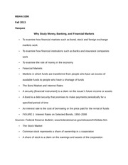 MBAN 3398 Notes on Why Study Money, Banking, and Financial Markets