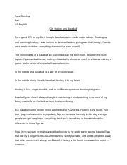 Emulation Essay docx - Sara Barshap Zarr AP English On Hockey and