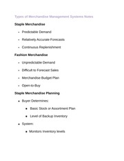 Types of Merchandise Management Systems Notes