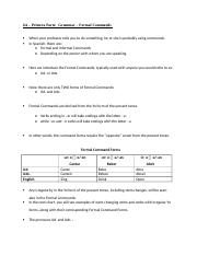 SPN1121 Grammar Formal Commands