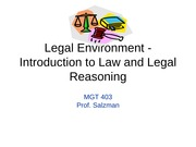 MGT 403 Legal Environment - Intro. to Law and Legal(1)