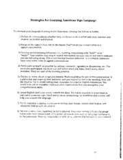 Unit 1 Strategies for Learning ASL