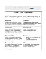 Sample Lean Business Plan - Wooden Grain Toy Company.doc