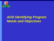 Identifying Program Needs and Objectives a
